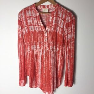 Maeve Orange Size 4 Watercolor Rayon Soft Tunic